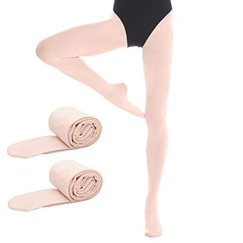 Bezioner 2 Paar Kinder Ballett Strumpfhose Tanzstrumpfhose mit Fuss fur Kinder und Damen,Apricot, 2 Paar,L