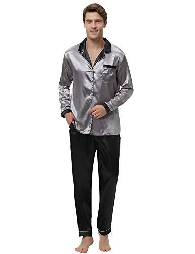 Aibrou Herren Satin Pyjama Set, Zweiteiliger Bedruckt Schlafanzug Langarm Shirt und Pyjamahose Dunkelgrau XL