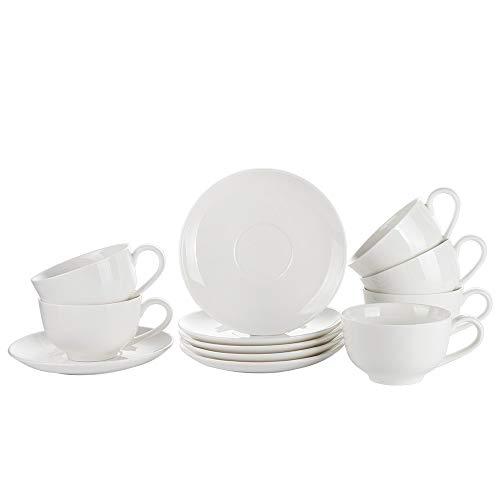 Porlien Cappuccinotassen Kaffeetassen aus Porzellan, Weiß, 6 Stück