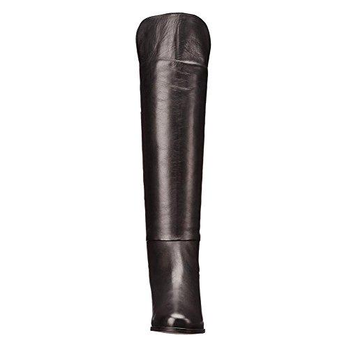 L@YC Stivali da donna Inverno Tacco piatto PU Similpelle autunno Punta rotonda Stivali al ginocchio Nastro per party e nero Black