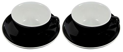 2 dickwandige Cappuccino-Tassen mit Untertassen aus Porzellan in schwarz