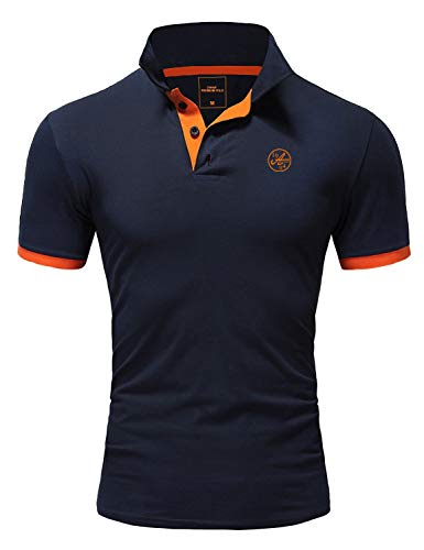 Amaci&Sons Herren Poloshirt Basic Kontrast Stickerei Kurzarm Polohemd T-Shirt 5103 Navyblau/Orange XXL