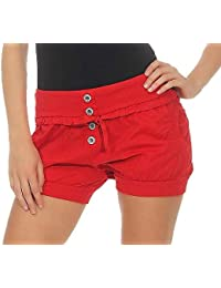cd41984d6a10ef Malito Damen Hotpants in Unifarben | lockere Kurze Hose | Bermuda für den  Strand | Pants