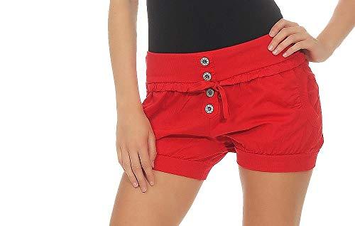 Malito Damen Hotpants in Unifarben | lockere Kurze Hose | Bermuda für den Strand | Pants - Shorts - klassisch 6086 (rot, L)