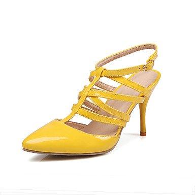 LvYuan Damen-Sandalen-Lässig-PU-Stöckelabsatz-Andere-Schwarz Gelb Rot Weiß Mandelfarben Yellow