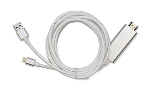 iProtect HDMI Adapterkabel für Apple iPad iPhone 5 5c 5s SE, iPhone 6 6s, iPhone 6 Plus 6s Plus, iPhone 7, iPhone 7 Plus mit Lightning und USB Ladekabel weiss