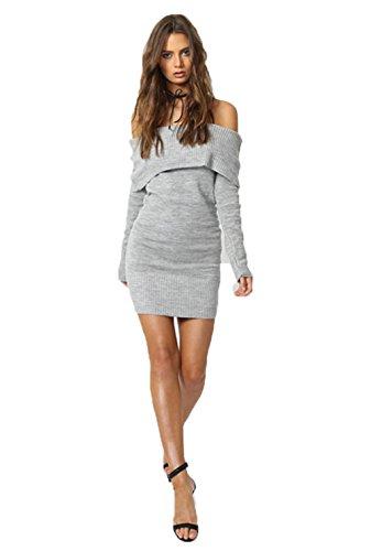 Alaix donne fuori sexy spalla lungo sottile maglione manica stretta mini vestito del partito grigio