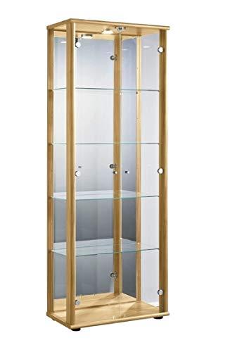 K-Möbel Glasvitrine Sammlervitrine Vitrine mit LED beleuchtet mit Schloß und Spiegel an der Rückwand in Buche Dekor 176x67x33 cm incl. 4 Glasböden höhenverstellbar