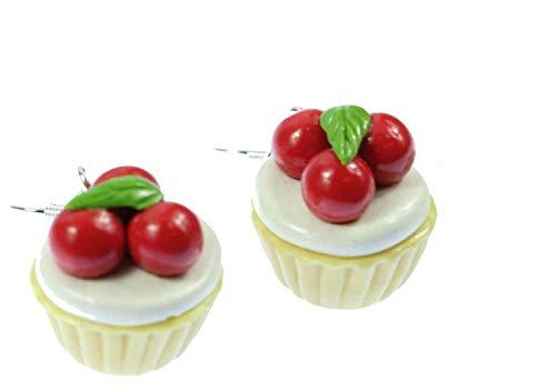 Cupcake Kirschkuchen Ohrringe Hänger Miniblings Torte Törtchen Kirschen rund 3D