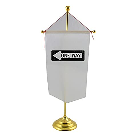 Table flag with One Way Left traffic sign, horizontal
