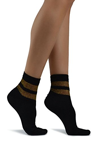 Elegante Damen Black Gold Glitzer Socken mit Streifen -Women's Elegant Black Cotton Socks with Gold Glitter Stripes Design Ankle … (Stripe Bar Socke)