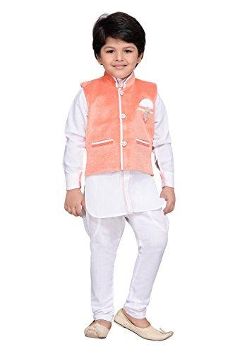 AJ Dezines Kids Kurta Pyjama Waistcoat Set for Boys(7004_ORANGE_12)