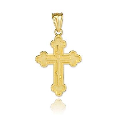 Kleine Schätze - 10 Karat Gold Russisch-orthodoxen Kreuz- Anhänger Halskette (Kommt mit einem 45 cm Kette)