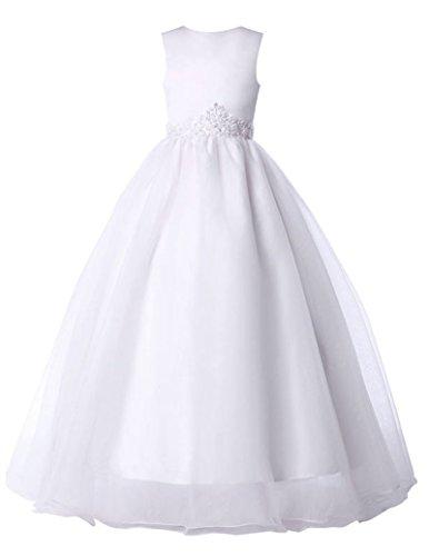 Blumenmaedchenkleider Weiß Maedchentraum Bodenlang Prinzessin fuer Brautkleid 9-10 (Für Prinzessin Kinder Braut Kostüme)