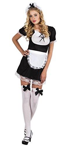 erdbeerloft - Damen Hausmädchen Kleid, Kostüm, Karneval, Fasching, Schwarz, (Damen Kostüme Sexy Hausfrau)