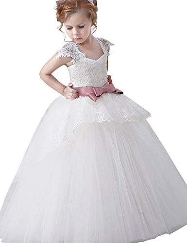 85905d576dd3 NNJXD Ragazze Pizzo Applique Ricamato Hollow Wedding Bridesmaid Ball Gown  Pageant Comunione Cerimonia Festa di Compleanno