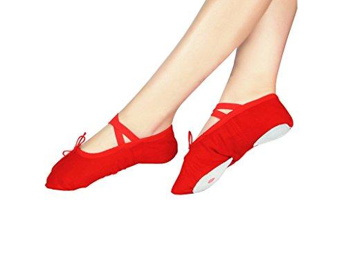 Tela Morbido Scarpe Danza Classica Tela Morbido Scarpe da Ballo Scarpette da Danza Ballerina con Suola per le Ragazze Bimba Donna Delle Signore Uomini Rosso