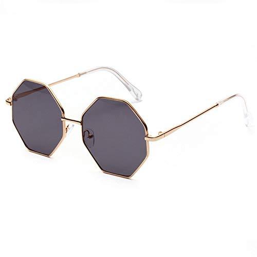 KONGYUER Sonnenbrillen, Brillen,Grau Vintage Polygonal Sonnenbrille Frauen Luxus Designer Klare Linse Metall Sonnenbrille Weiblichen Kleinen Rahmen Multi Color Sunglass