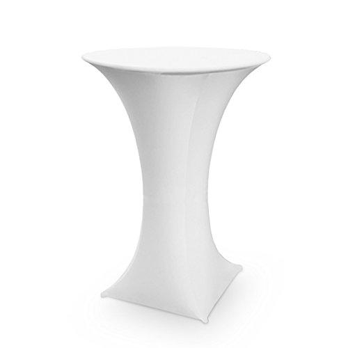 Stretch Stehtischhusse für Bistrotisch Stehtische Ø 60 cm elegante Stretchhusse Husse weiß als Tisch-Überzug