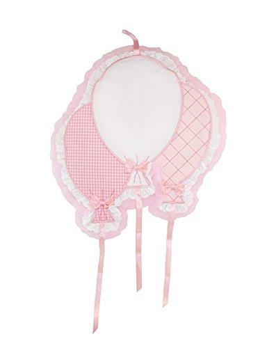 Biancheria store fiocco nascita rosa coccarda palloncini con aida ricamabile -