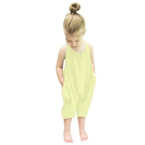 Igemy Kleinkind Kind Baby Mädchen Riemen Spielanzug Jumpsuits Piece Hosen Kleidung (80, Gelb) (Gelbe Kragen Riemen)