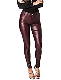 Leggings en Cuir pour Femmes The Pure Color Slim breal Pantalon en Similicuir  Leggings Stretch Warm e41846668114