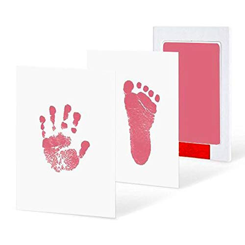 Goodplan 1 Satz Ungiftig Infant Baby Handprint und Footprint Pad Kit Kreative Drucke Papier und Clean Touch Stempel Pad Beste Erinnerungen Geschenk (Rosa)