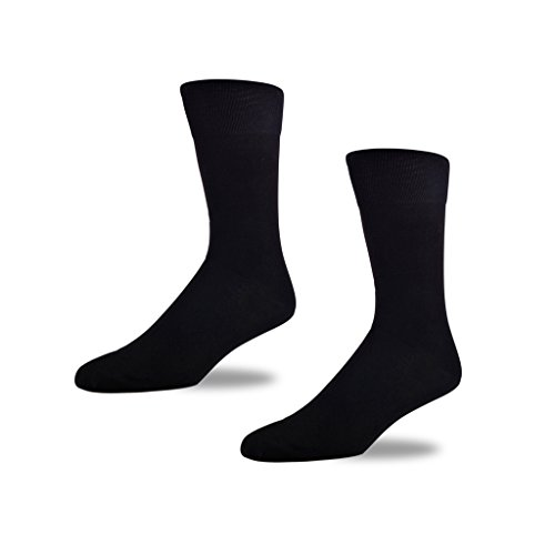 Image of STÓR Men's Socks (2-Pack) Bamboo Antibacterial Designer Calf Socks Breathable Soft Socks Active Antifungal (Large (43-46EU / 9-12UK), Black - Black)