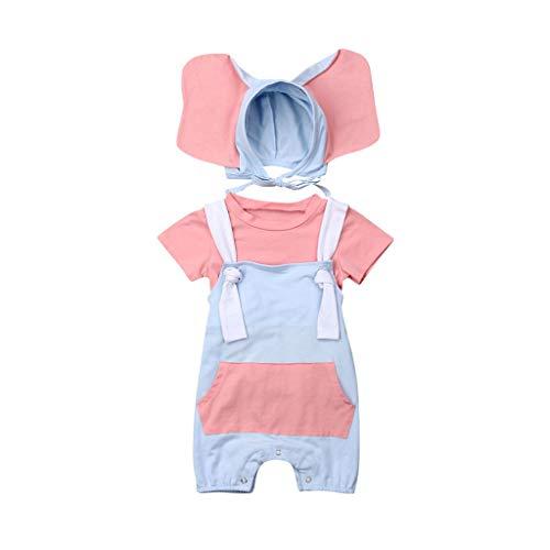 Teens Einfache Kostüm - Dasongff Baby Mädchen Kurzarm Shirt Overalls Latzhose + Elefant Hut 3 Stück Prinzessin Neugeborenen Kleinkind Kleidung Set