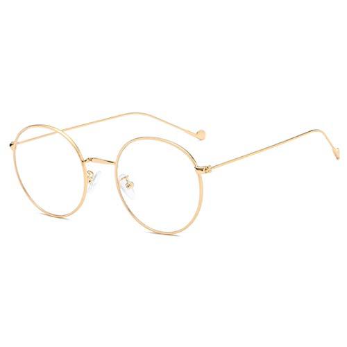 Yefree Fashion Unisex Vintage Vollmetall-runder dünner Rand-Rahmen-optische Gläser