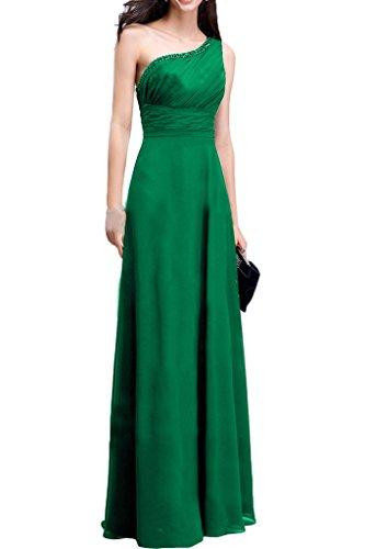 Milano Bride Herrlich Ein-Schulter Lang Chiffon Abendkleider Festkleider Strass Faltenwurf Grün