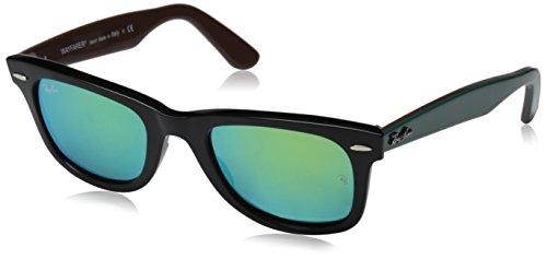Ray Ban Unisex Sonnenbrille Wayfarer, Mehrfarbig (Gestell: Schwarz Braun, Gläser: Grün Flash 117519), Medium (Herstellergröße: 50)