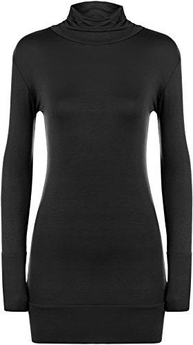 WearAll - Haut simple à manches longues avec un col roulé - Hauts - Femmes - Tailles 36 à 42 Noir