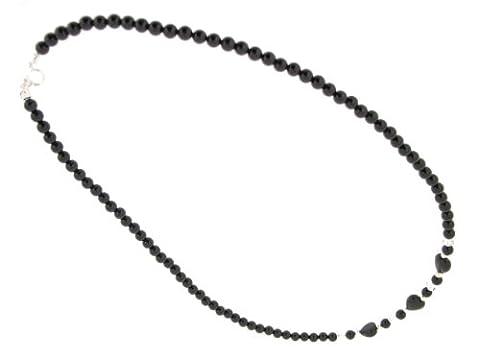 Earth Skinny Herzanhänger aus schwarzem Onyx, 46 cm