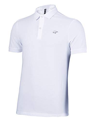 Herren Polo Shirts Kurzarm Poloshirts 100% Baumwolle Sommer T-Shirt Bär Stickerei Polohemd Weiß Größe:XL (100 Baumwolle T-shirt)