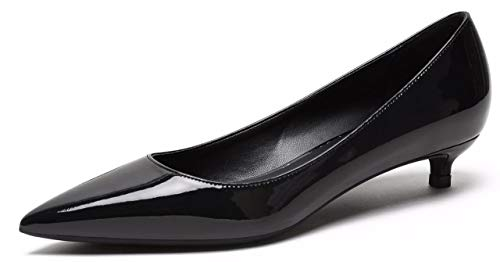 CAMSSOO Pumps Damen Schlupfschuhe Spitzen Zehenbereich Low Heels Party Schuhe,40 EU,Black Patent Leather -