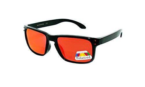 rainbow safety Kinder Sonnenbrille Polarisiert 5+ Jahre UV400 Schutz 3301 Schwarz verspiegelt Rot
