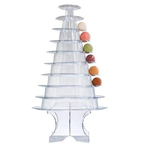 10 Reihen Runder Macaron Turm Stand PVC Kuchen-Präsentationsständer, Dessert-Ständer, Cupcake-Baum, Für Hochzeits-Geburtstags-Dekor,Hochzeit, Party.