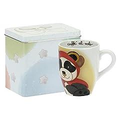 Idea Regalo - THUN - Tazza Mug Panda Taurus con Scatola in Latta - Linea Oroscopo - Porcellana - 300 ml