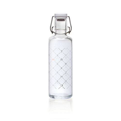 Soulbottles 0,6l Trinkflasche aus Glas Verschiedene Designs, Made in Germany, Vegan, plastikfrei, Glastrinkflasche, Glasflasche (1 Schluck Sommer)