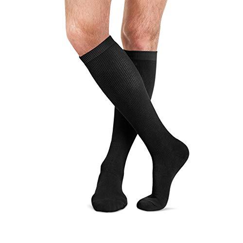 Baumwoll-nylon-sport-socken (FYTTO 4080 warme kniehohe Kompressionsstrümpfe - 75% Baumwolle - bequeme Funktionssocken für Herbst und Winter - Klasse 1 - Thermo-Socken für Damen & Herren | schwarz | XL)