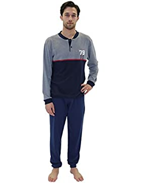 Giorgio Rey - Pijama 08-102 para hombre, 100% algodón interlock de algodón caliente, manga larga
