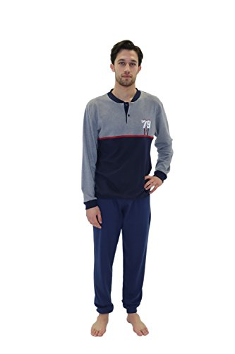 Giorgio Rey - Pyjama 08-102 für mann, 100% cotton interlock warm cotton, langarm Blau