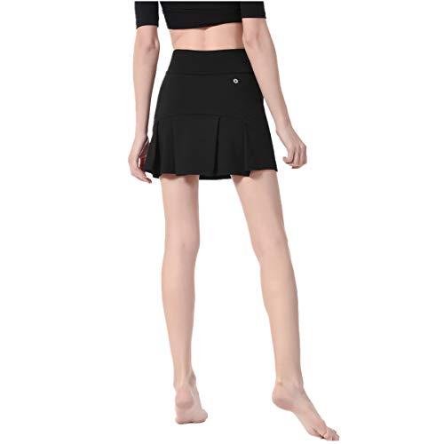Formesy Damen Rock Kurz Culottes Tennisrock Hose mit Taschen für Frauen Mädchen Sport (Schwarz, S)