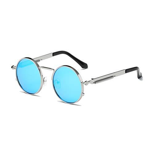 Junecat Unisex Metall runder Rahmen Federbein-Sonnenbrille Männer Frauen Straßen-Verschlussfahrradreise Sonnenbrillen Anti-UV-Brillen