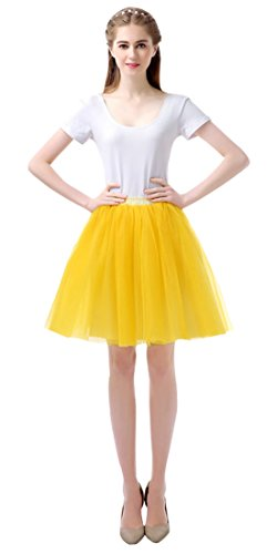 Feoya Damen Vintage Tutu Rock Layered Mini Rock 50er Kurz Petticoat Tanzkleid Multi-Schichten Ballett Tütü Kostüm Tüllrock (Kostüm Karneval Taille 50)