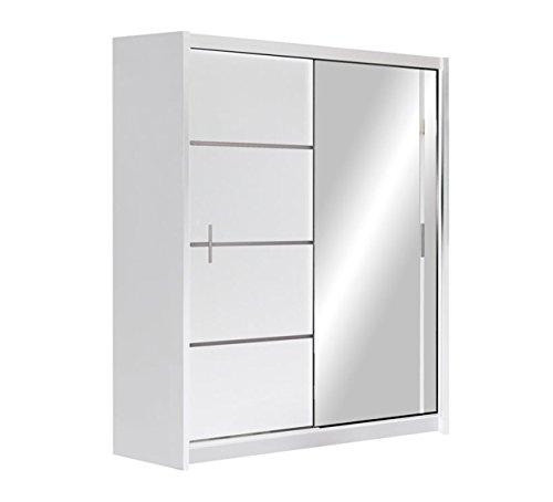 Kleiderschrank Rapid, Schwebetürenschrank mit Spiegel, Schiebetür, Elegantes Schlafzimmerschrank, Schlafzimmer, Jugendzimmer (Weiß / Spiegel, 150...