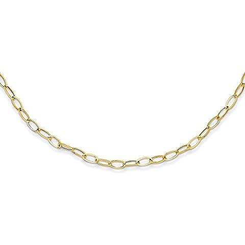14ct Oro ovale link Collana–46centimetri