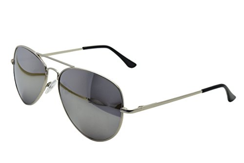 ASVP Shop® Silver Mirror Aviator Sunglasses & Cloth Case Uv400 Designer Men's Ladies Shades