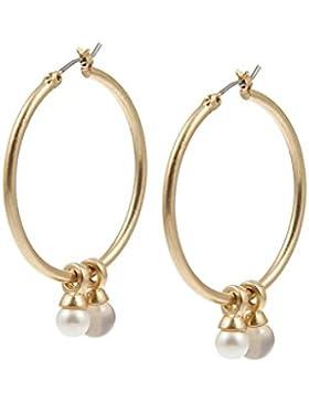 Be A Star Ohrringe Freshwater Pearl Grey Agate worn gold von Sence Copenhagen